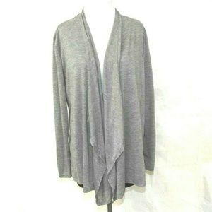 Womens Lightweight Gray Open Front Draped Cardigan